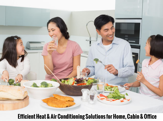 Efficient Heat & Air Conditioning Solutions for Home, Cabin & Office | Family in kitchen
