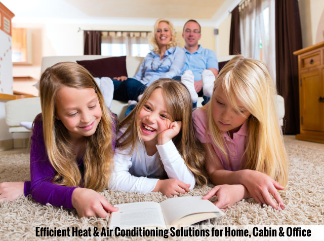 Efficient Heat & Air Conditioning Solutions for Home, Cabin & Office | Family in living room